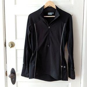 Athleta black quarter zip pullover long jacket